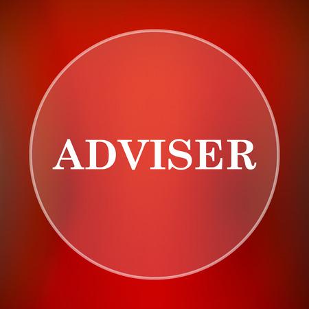 adviser: Adviser icon. Internet button on red background.