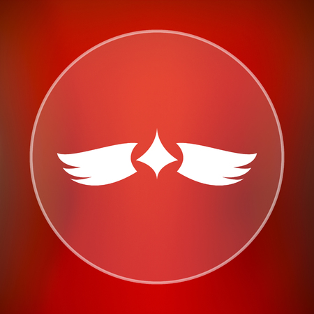 pacification: Wings icon. Internet button on red background. Stock Photo