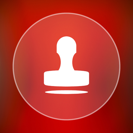 stamper: Stamp icon. Internet button on red background.