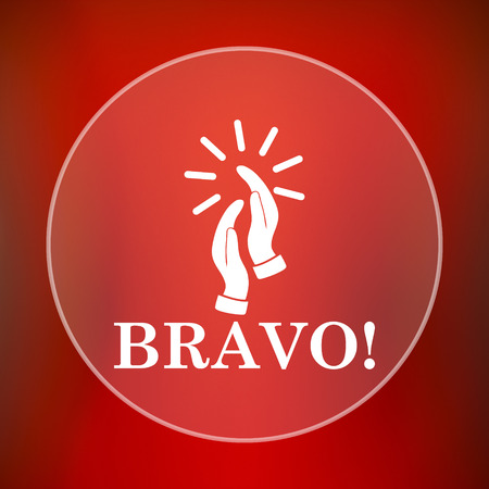 applaud: Bravo icon. Internet button on red background.