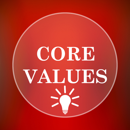 core strategy: Core values icon. Internet button on red background.