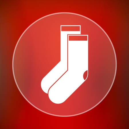 hosiery: Socks icon. Internet button on red background.