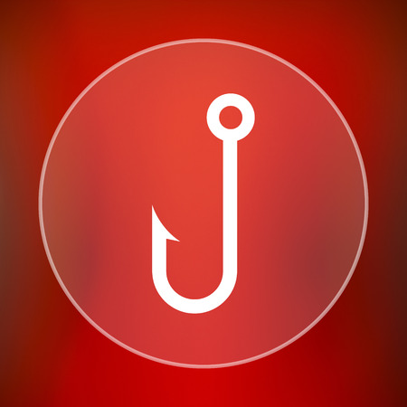 fishhook: Fish hook icon. Internet button on red background.