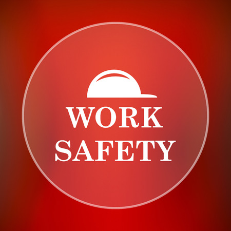 dangerous work: Work safety icon. Internet button on red background. Stock Photo