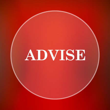 advise: Advise icon. Internet button on red background.