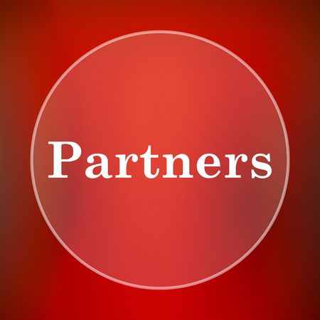 partners: Partners icon. Internet button on red background.