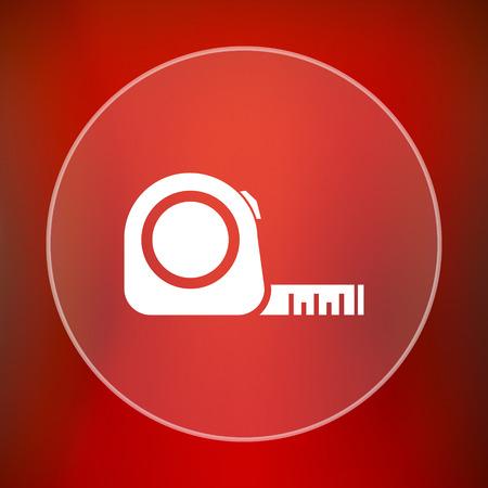 cintas metricas: icono de la cinta m�trica. bot�n de internet sobre fondo rojo.