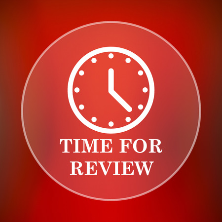 revision: Time for review icon. Internet button on red background.