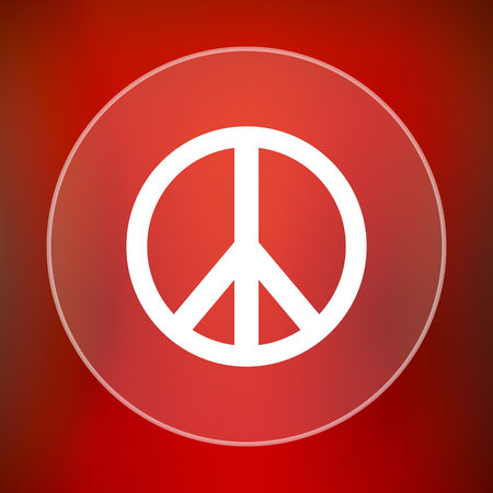 pacifist: Peace icon. Internet button on red background.