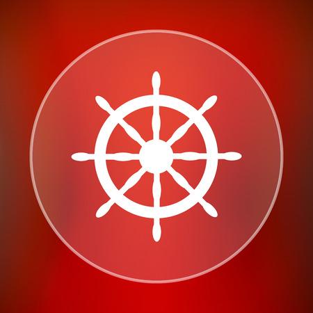 dockyard: Nautical wheel icon. Internet button on red background.