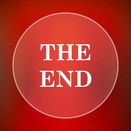close out: The End icon. Internet button on red background.