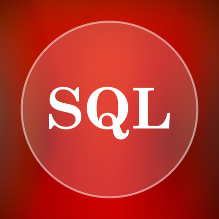sql: SQL icon. Internet button on red background. Stock Photo
