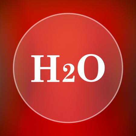 h2o: H2O icon. Internet button on red background. Stock Photo