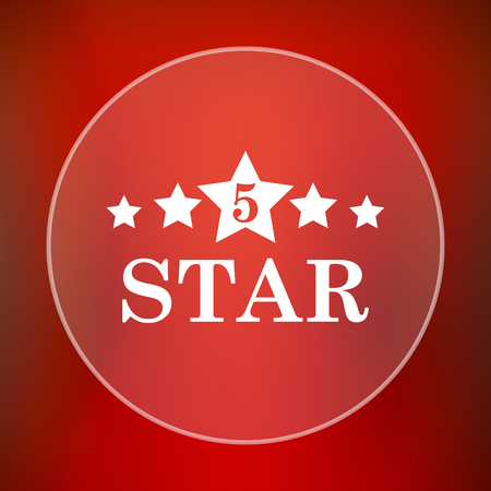 star background: 5 star icon. Internet button on red background. Stock Photo