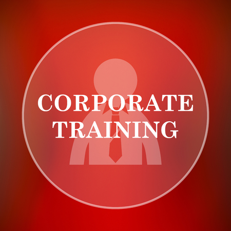 corporate training: Corporate training icon. Internet button on red background.