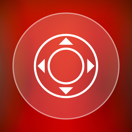 move controller: Joystick icon. Internet button on red background. Stock Photo
