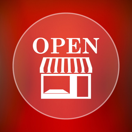 caf: Open store icon. Internet button on red background.