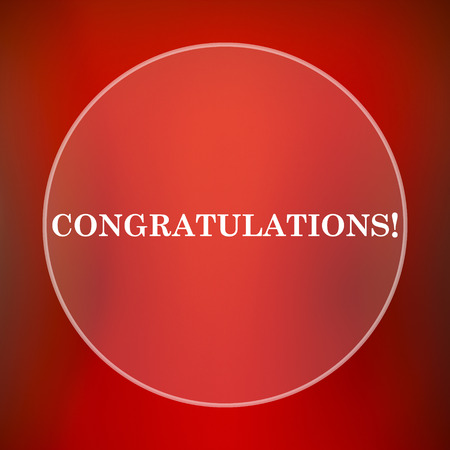 laud: Congratulations icon. Internet button on red background. Stock Photo