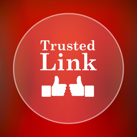 trusted: Trusted link icon. Internet button on red background.