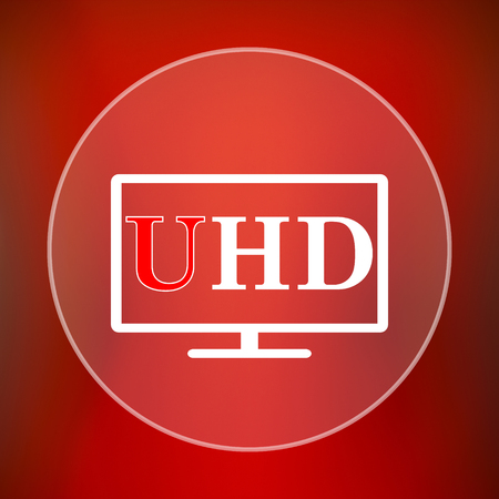 hd: Ultra HD icon. Internet button on red background. Stock Photo