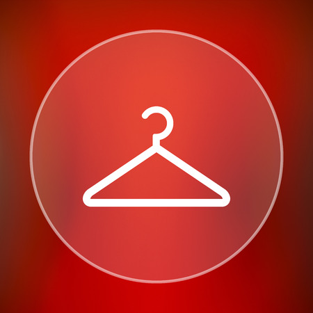 clothing rack: Hanger icon. Internet button on red background.