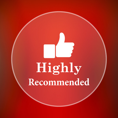 highly: Highly recommended icon. Internet button on red background.
