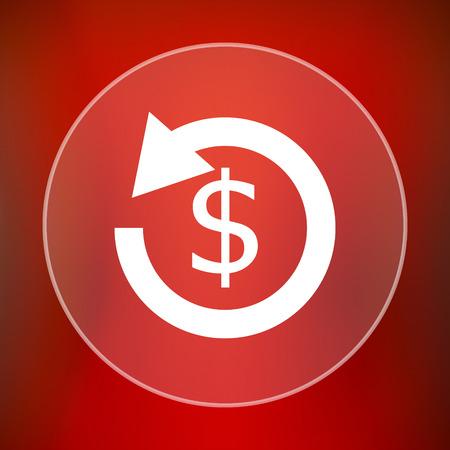 reimbursement: Refund icon. Internet button on red background. Stock Photo