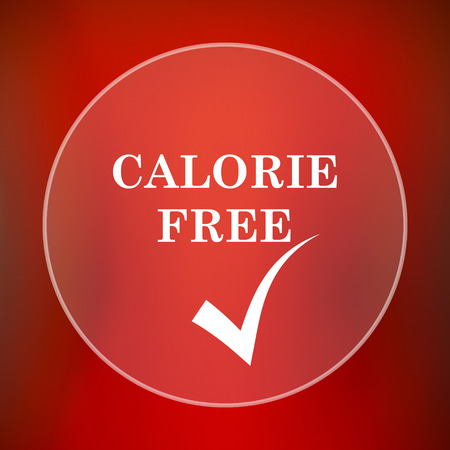 calorie: Calorie free icon. Internet button on red background. Stock Photo