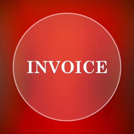 billing: Invoice icon. Internet button on red background. Stock Photo
