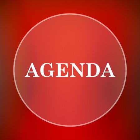 schedule reports: Agenda icon. Internet button on red background. Stock Photo