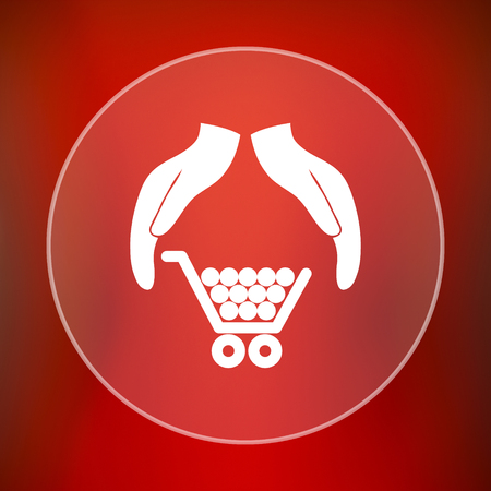 consumer protection: Consumer protection, protecting hands icon. Internet button on red background.