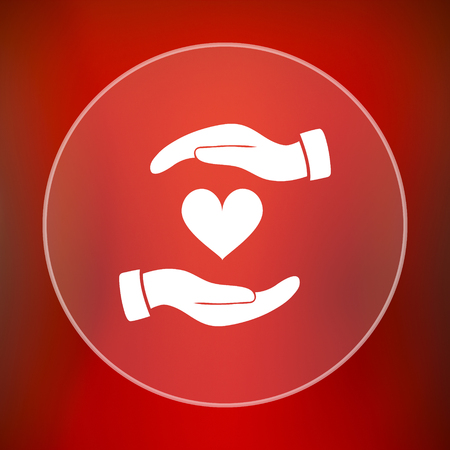 hands holding heart: Hands holding heart icon. Internet button on red background.