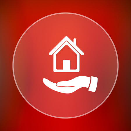 red hand: Hand holding house icon. Internet button on red background.