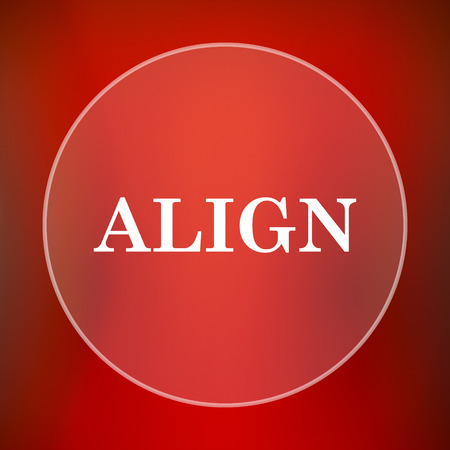 align: Align icon. Internet button on red background. Stock Photo