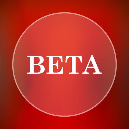 beta: Beta icon. Internet button on red background.