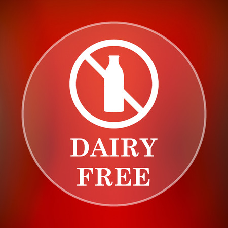 lactose intolerant: Dairy free icon. Internet button on red background. Stock Photo