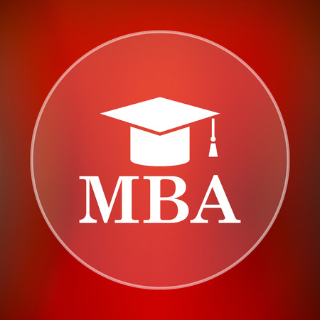 master degree: MBA icon. Internet button on red background. Stock Photo