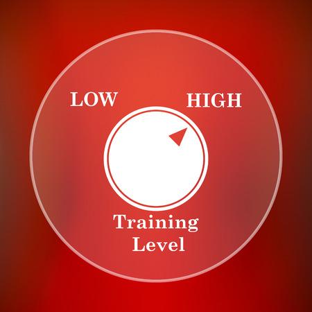 cognicion: icono del nivel de entrenamiento. botón de internet sobre fondo rojo. Foto de archivo