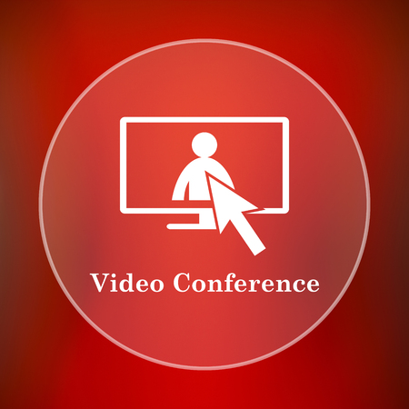 affair: Video conference, online meeting icon. Internet button on red background.