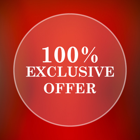 exclusive: 100% exclusive offer icon. Internet button on red background.