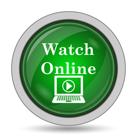 website buttons: Watch online icon. Internet button on white background. Stock Photo