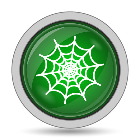 spider web: Spider web icon. Internet button on white background. Stock Photo
