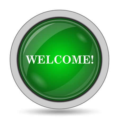 inform information: Welcome icon. Internet button on white background. Stock Photo