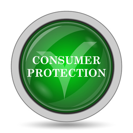 consumer protection: Consumer protection icon. Internet button on white background.