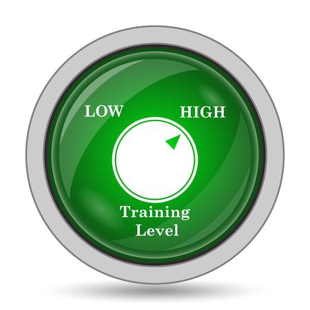 cognicion: Icono del nivel de formación. Botón de internet sobre fondo blanco.