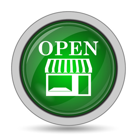 caf: Open store icon. Internet button on white background. Stock Photo
