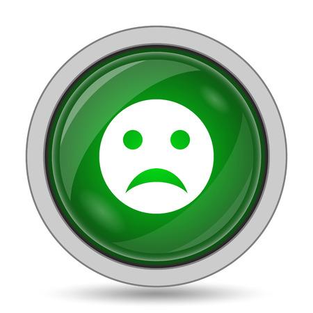 sobbing: Sad smiley icon. Internet button on white background. Stock Photo