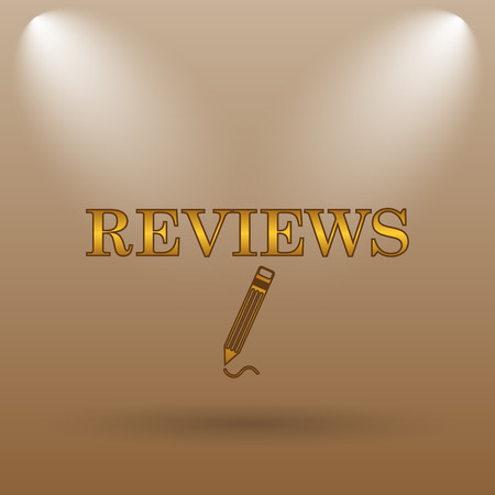 investigate: Reviews icon. Internet button on brown background. Stock Photo