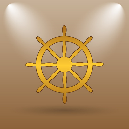 dockyard: Nautical wheel icon. Internet button on brown background.
