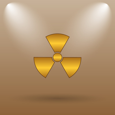 caution chemistry: Radiation icon. Internet button on brown background.